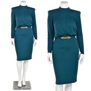 Vintage 1970's St. John Knits Teal Mock Neck Dress